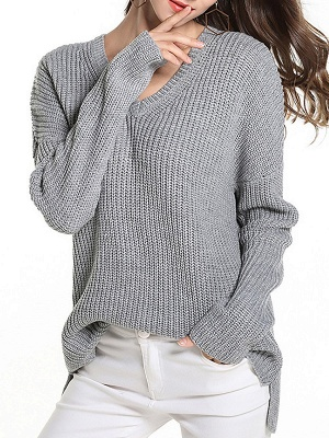 Casual Long Sleeve Knitted V neck Sweater_5