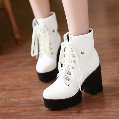 Chunky Heel Lace-up PU Daily Round Toe Boot_1
