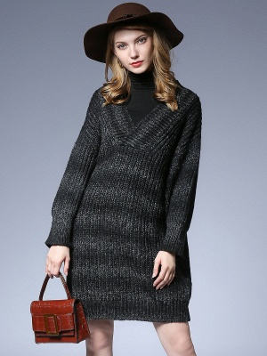 Knitted Casual Long Sleeve Shift Sweater_2