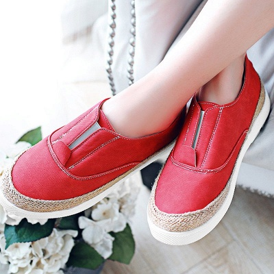 Summer Casual Round Toe Denim Wedge Loafers_11