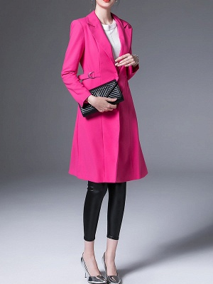 Rose Lapel Work A-line Buttoned Solid Long Sleeve Coat_4