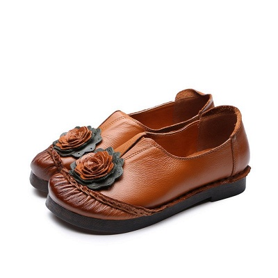 Flower Round Toe Casual Leather Loafers_2