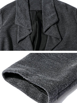 Gray Long Sleeve Casual Solid Pockets Coat_5