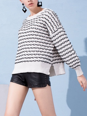 Crew Neck Long Sleeve Shift Casual Sweater_1
