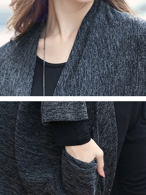 Casual Shift Batwing Pockets Coat_7