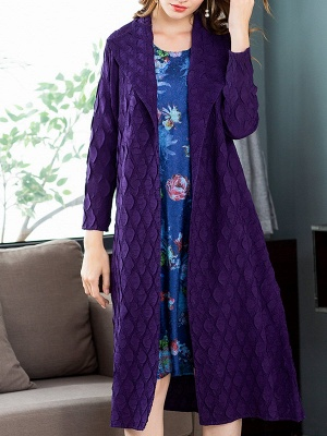 Purple Casual Embossed Long Sleeve Solid Shawl Collar Shift Slit Coat_6