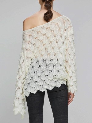 Casual Bell Sleeve Leaf One Shoulder Sweater_6