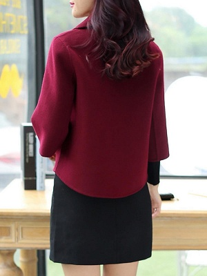 Work 3/4 Sleeve Shift Shawl Collar Buttoned Coat_4