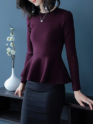 Ruffled Solid Long Sleeve Crew Neck Casual Sweater_1