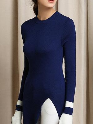 Casual Crew Neck Wool Sheath Long Sleeve Sweater_5