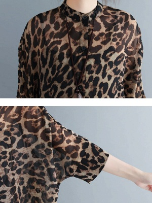 As Picture Casual Shift Printed Half Sleeve Coat_5