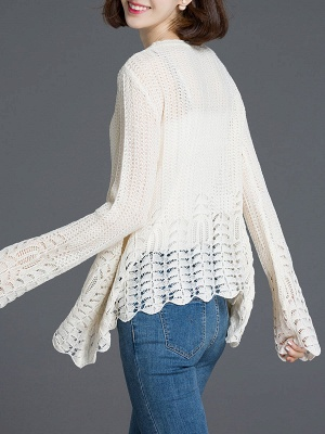 Crocheted Daily Casual Knitted Shift Sweater_5