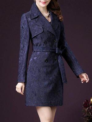 Blue Long Sleeve Blouson Buttoned Work Coat_4