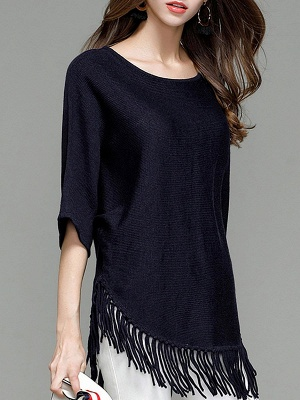 Casual Solid Batwing Sweater_7
