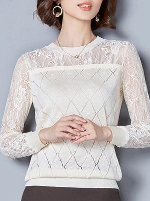 Shift Casual Long Sleeve Geometric Sweater_2