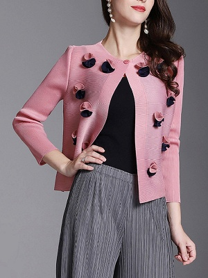 Long Sleeve Floral Casual Coat_1