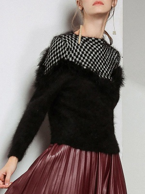Long Sleeve Checkered/Plaid Sheath Casual Sweater_2