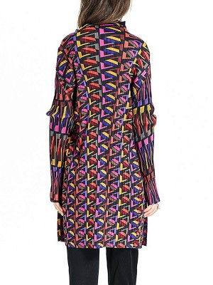Multicolor Abstract Long Sleeve Shift Crinkled Coat_3