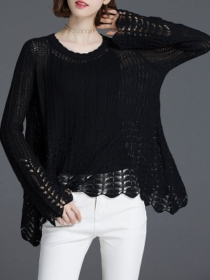 Crocheted Daily Casual Knitted Shift Sweater_2