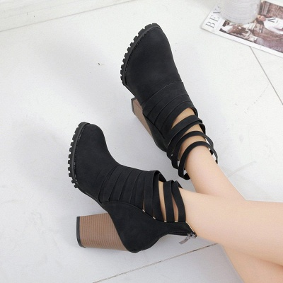 Chunky Heel Zipper Daily Pointed Toe Elegant Boots_6