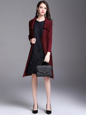 Shift Buttoned Pleated Shawl Collar Coat_11