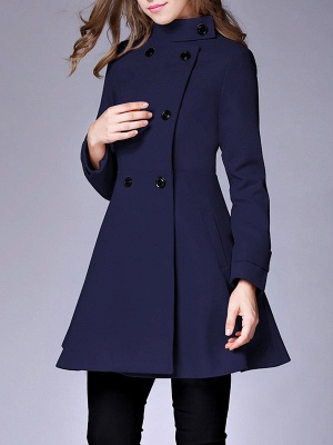 Long Sleeve Casual Wool Stand Collar Coat_3