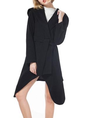 Long Sleeve Hoodie Asymmetrical Solid Casual Coat_6