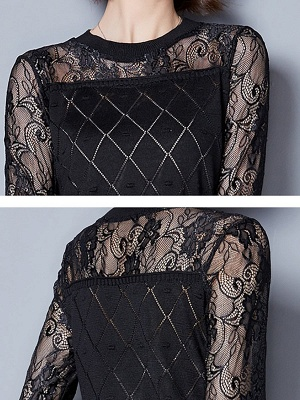 Shift Casual Long Sleeve Geometric Sweater_11