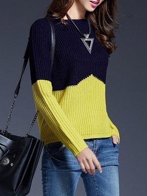 Long Sleeve Bateau/boat neck Casual Ribbed Sweater_7