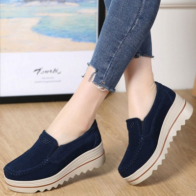Casual Round Toe Leather Flat Heel Loafers_3