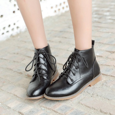 Low Heel Lace-Up Pointed Toe Boots_3