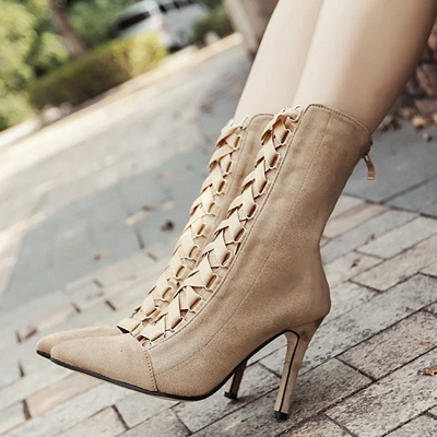 Lace-up Stiletto Heel Daily Elegant Pointed Toe Boots_5