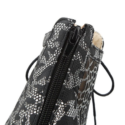 Zipper Chunky Heel Mesh Fabric Pointed Toe Boots_11