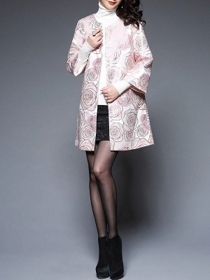 Pink Floral Printed Casual Shift Coat_4