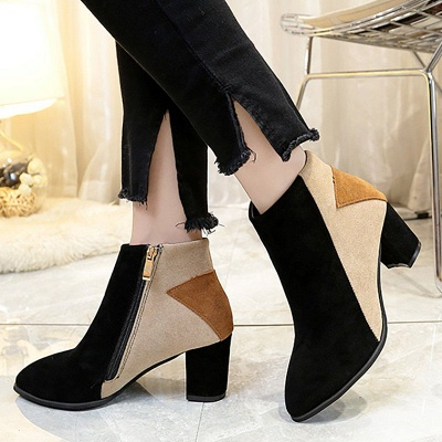 Zipper Chunky Heel Daily Pointed Toe Elegant Boots_1