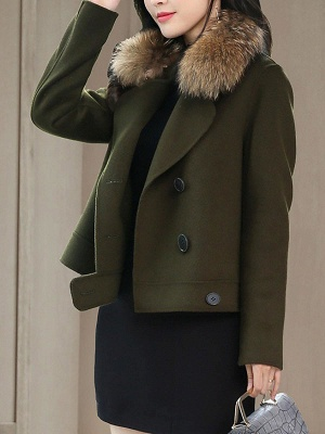 Work Long Sleeve Solid Lapel Buttoned Paneled Coat_7