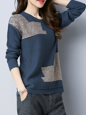 Crew Neck Casual Long Sleeve Sweater_5