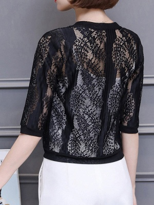 3/4 Sleeve Shift Crew Neck See-through Look Guipure lace Coat_3