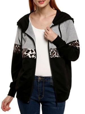 Black Leopard Print Casual Coat_4