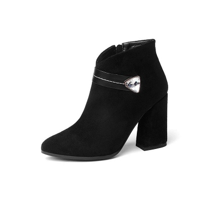 Zipper Chunky Heel Daily Suede Elegant Pointed Toe Boots_6