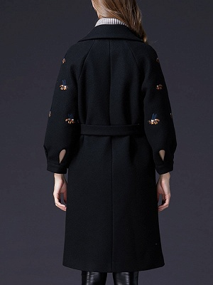 Black Lapel Balloon Sleeve Shift Buttoned Animal Embroidered Coat_3