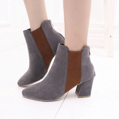 Zipper Daily Chunky Heel Pointed Toe Suede Elegant Boots_3
