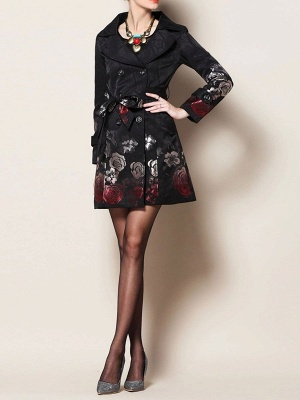 Black Floral Casual Long Sleeve Pockets Buttoned Jacquard Coat_4