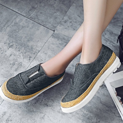 Summer Casual Round Toe Denim Wedge Loafers_3
