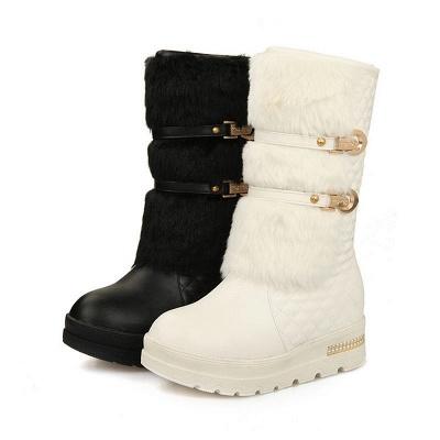 Women's Boots Black Wedge Heel Round Toe Buckle Boots_9