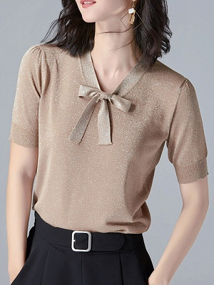 Tie-neck Knitted Casual Short Sleeve Bow Polyester Sweaters_2