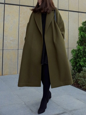 Easy Matching Casual Long sleeve Slit Cotton Solid Coat_9