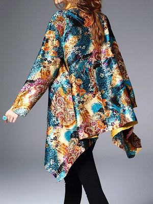 Green Casual Shawl Collar Asymmetrical Abstract Crinkled Coat_3