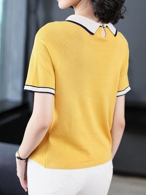 Short Sleeve Work Summer Knitted Binding Sweater_4