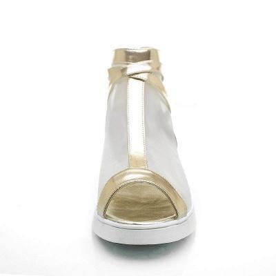Zipper Daily Peep Toe Wedge Heel Elegant Boots_8